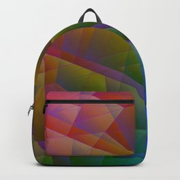 Bright fragments of crystals on irregularly shaped green and celestial triangles. Backpack