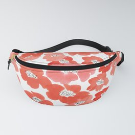 Camellia Flowers in Red Fanny Pack