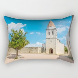 Square of the Glagolitic Monks with Church of St Francis, Town of Krk on the island of Krk, Croatia Rectangular Pillow