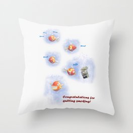 Greeting for Quitting Smoking- Fish Throw Pillow