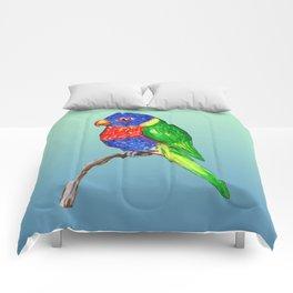 Cute rainbow lorikeet Comforters