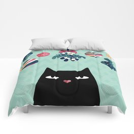 Mistletoe? (Black Cat) Comforters