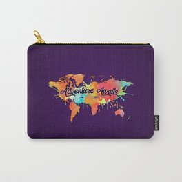 Adventure Awaits Quote Vivid Watercolor World Map Carry-All Pouch