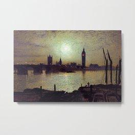 Westminster Bridge by Moonlight by John Atkinson Grimshaw Metal Print