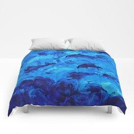 Dolphins Frolicking in the Ocean Comforters
