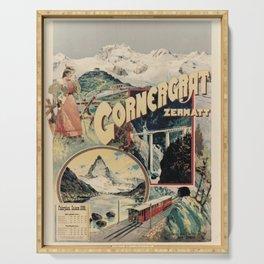 vintage placard Cornergrat Zermatt voyage poster Serving Tray
