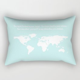 World Map with inspirational Dr. Seuss quote in teal, green, mint Rectangular Pillow