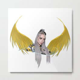 Billie Eilish Artwork With Wings Metal Print