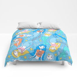 """What a catch"" phrase - motivational mermaids Comforters"