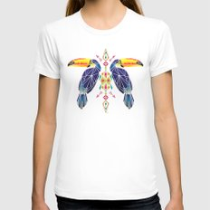 toucan White MEDIUM Womens Fitted Tee