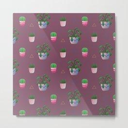 House Plants Pattern Metal Print