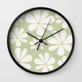 Floral Daisy Pattern - Green Wall Clock