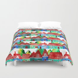 Watercolor houses Duvet Cover