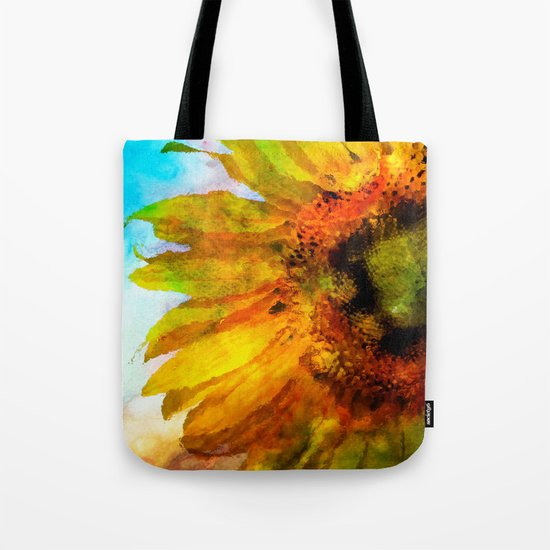 Sunflower on colorful watercolor background- Flowers on #Society6 Tote Bag
