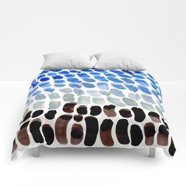 Cool Blue Frosted Winter Palette colorful watercolor Nature Pattern Comforters