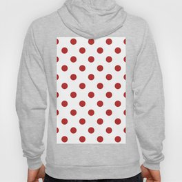 Polka Dots - Firebrick Red on White Hoody