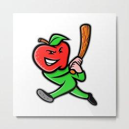 Apple Baseball Mascot Metal Print