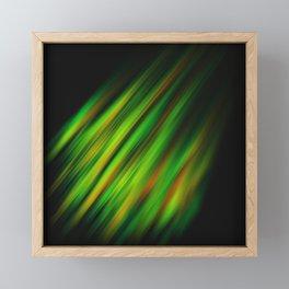 Colorful neon green brush strokes on dark gray Framed Mini Art Print