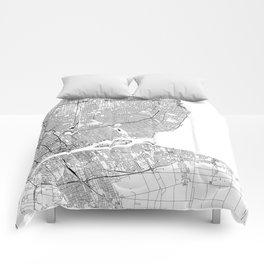 Detroit White Map Comforters