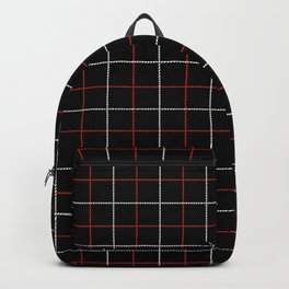 Tattersall Windowpane Check Plaid (black/white/red) Backpack