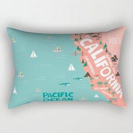 California Illustrated Map Rectangular Pillow