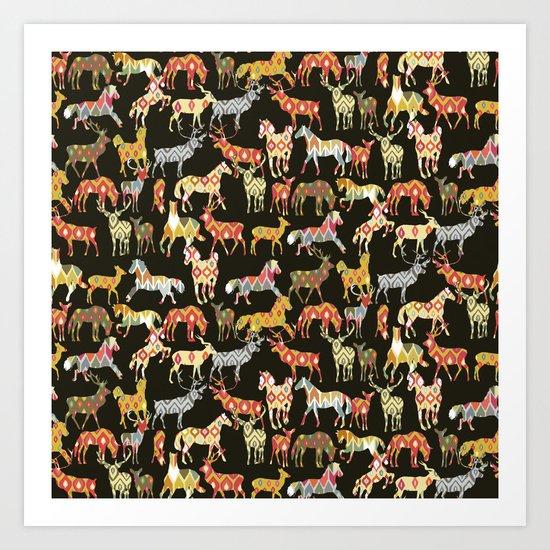 deer horse ikat party Art Print