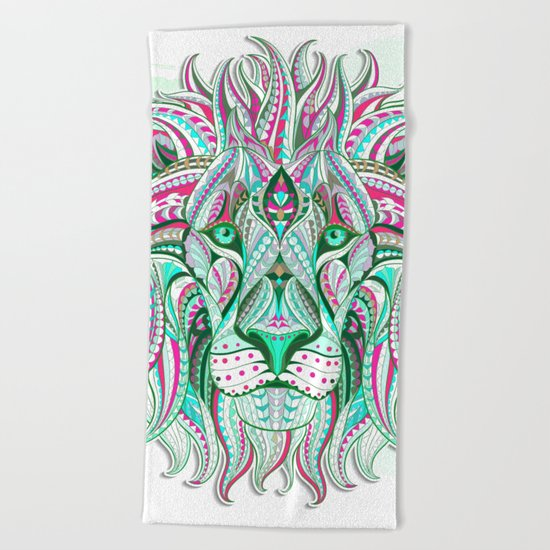 Sea Green Ethnic Lion Beach Towel