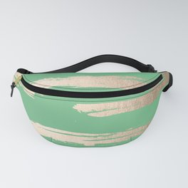 Abstract Paint Stripes Gold Tropical Green Fanny Pack