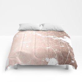 Amsterdam Rosegold on White Street Map Comforters
