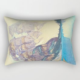 Moraine Lake (Moren) Hiroshi Yoshida Japanese Woodblock Print Rectangular Pillow