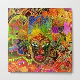 Tribal Mask colorful collage Metal Print