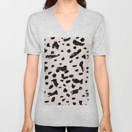 Abstract black pastel pink watercolor paint brushstrokes Unisex V-Neck