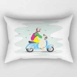 Girl on Scooter Vespa Cartoon Helmet Woman Rectangular Pillow