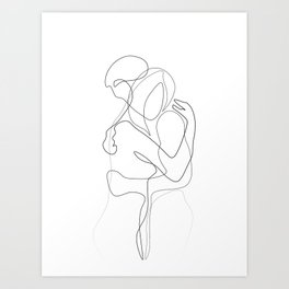 Lovers - Minimal Line Drawing Art Print