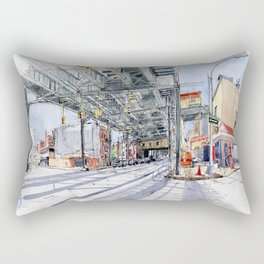 Under Brooklyn train beams Rectangular Pillow
