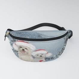 Christmas time, cute dogs and squirrel with christmas hat Fanny Pack