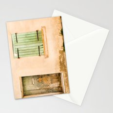 Green wooden door and shuttered window Stationery Cards