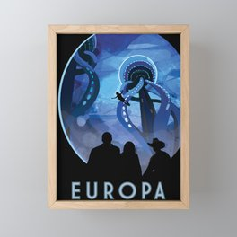 NASA Retro Space Travel Poster #4 - Europa Framed Mini Art Print