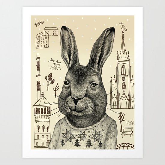 He's travelling around the world by his own. Art Print