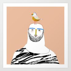 Man beard and bird Art Print