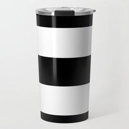 Midnight Black and White Stripes Travel Mug