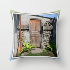 DOORWAY TO COURTYARD IN POKHARA NEPAL Throw Pillow