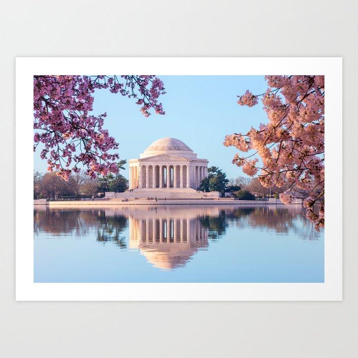 Cherry Blossoms at Jefferson Memorial in Washington DC Art Print