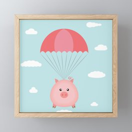 Baby Pig in a Parachute Framed Mini Art Print