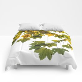 Green And Yellow Maple Leaf Comforters