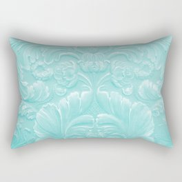 Robin Egg Blue Tooled Leather Rectangular Pillow