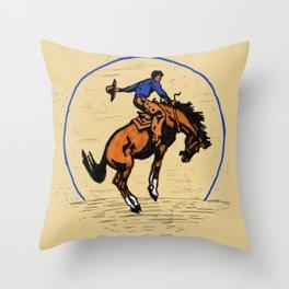 Full Moon Bronc & Cowboy Throw Pillow