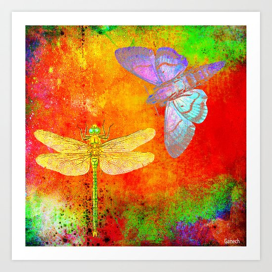 The Dragonfly and the Butterfly Art Print