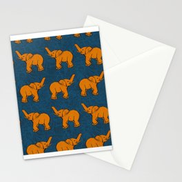 Face Covering Orange Elephants Blue Mask Neck Gaiter Bandana Neck Gator.jpg Stationery Cards