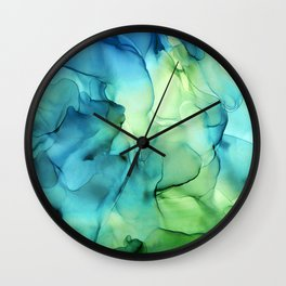 Blue Green Spring Marble Abstract Ink Painting Wall Clock